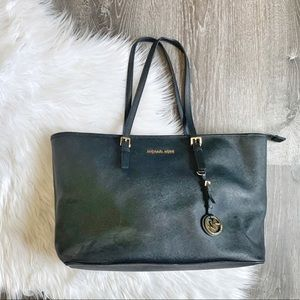 MICHAEL KORS | Big Black Jet Set Travel Tote Bag